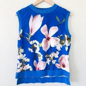 Ted Baker London Blue Floral Sleeveless Blouse